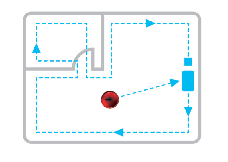 ホコリがたまりがちな壁際を2周して掃除する。部屋の中央部は掃除しないので、素早く終わる