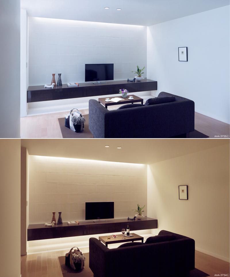 LED建築化照明の設置例。器具を建築物に納め、光を天井や壁に反射させて柔らかな間接照明を行なう