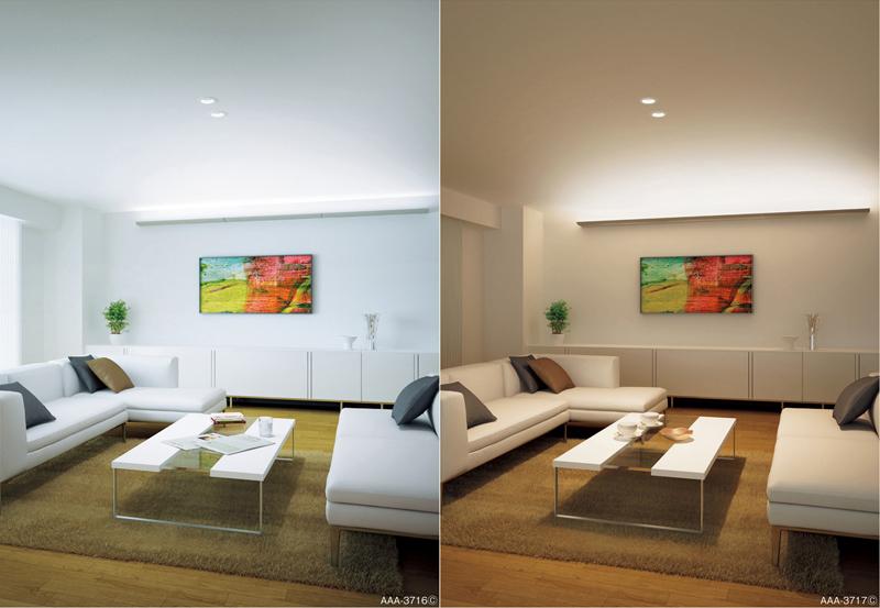 長手配光LED間接光ブラケットの設置例。天井から15cm離れた位置に取り付けて、建築化照明のような間接光を実現する