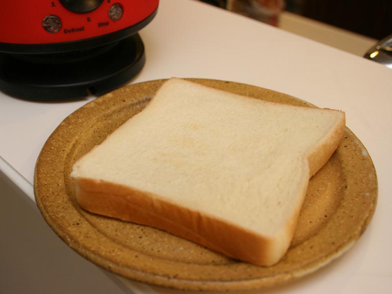 焼き目1で焼いたパン。焼き目はないが、表面はパリっとしている。焼き時間は1分15秒ほど