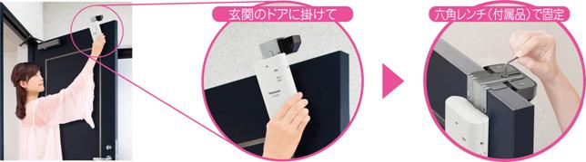 ワイヤレスカメラはドアに引っ掛けるだけで設置できる