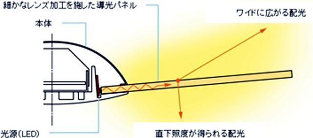 導光板の構造。本体から羽根のよう出ている