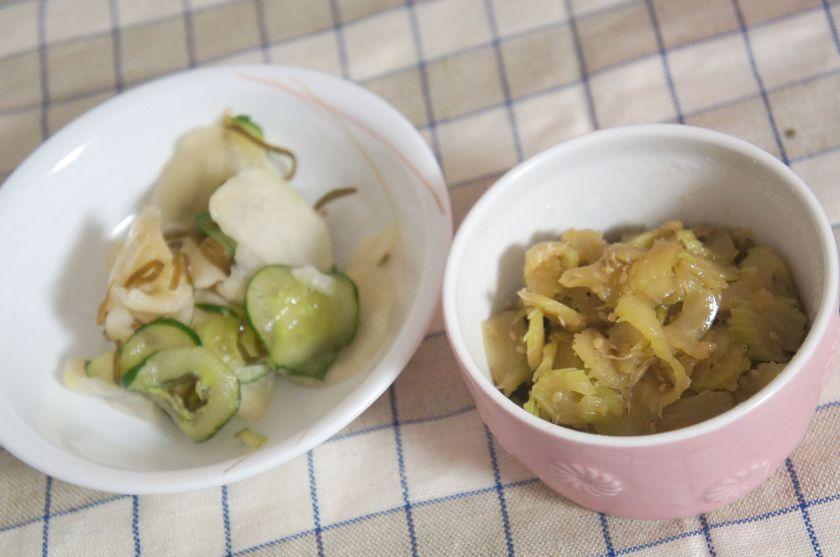 セロリのきんぴらとカブときゅうりの即席漬け完成。日本人好みのレシピが充実