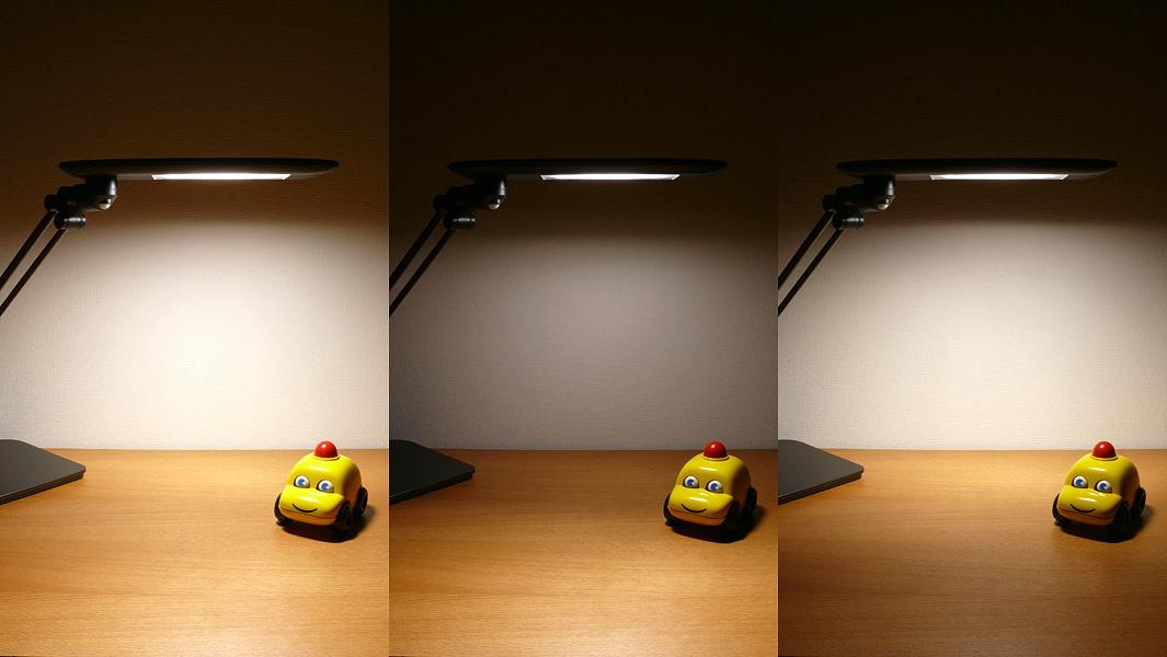 全灯の状態から配光スイッチを押すと、「ハーフ点灯・手前」→「ハーフ点灯・奥」と配光が大きく変化する