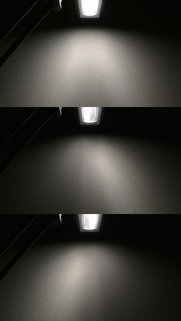 全灯とハーフ点灯時の光源の様子と光の向き。ハーフ点灯時は、左側のLEDユニットが右斜め下を照らしている(中央)