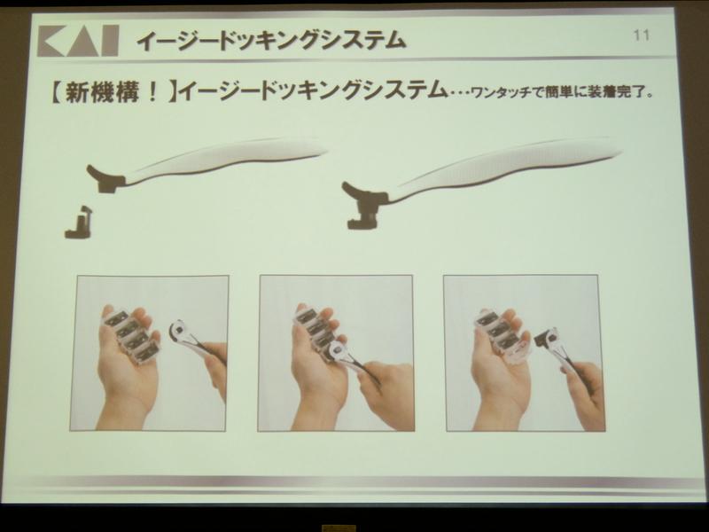 替え刃をワンタッチで着脱できる新機構「イージードッキングシステム」を採用