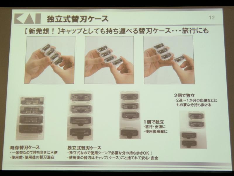 替え刃のキャップはスライドして取り外しできる。使用後の替え刃はキャップごと捨てられる