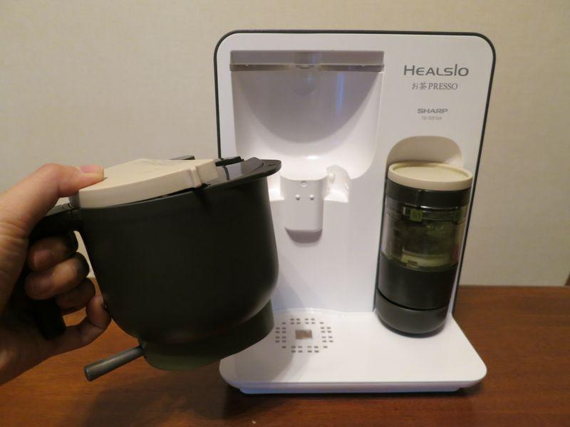 お茶容器は、ハンドル付きで取り外せる