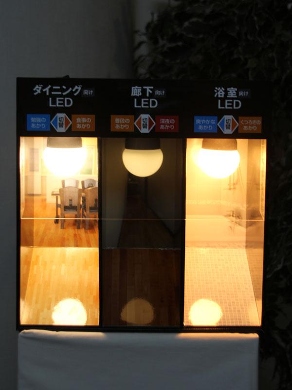 灯りを切り替えた後。左からリビング向け(食事のあかり)、廊下向け(深夜のあかり)、浴室向け(くつろぎのあかり)