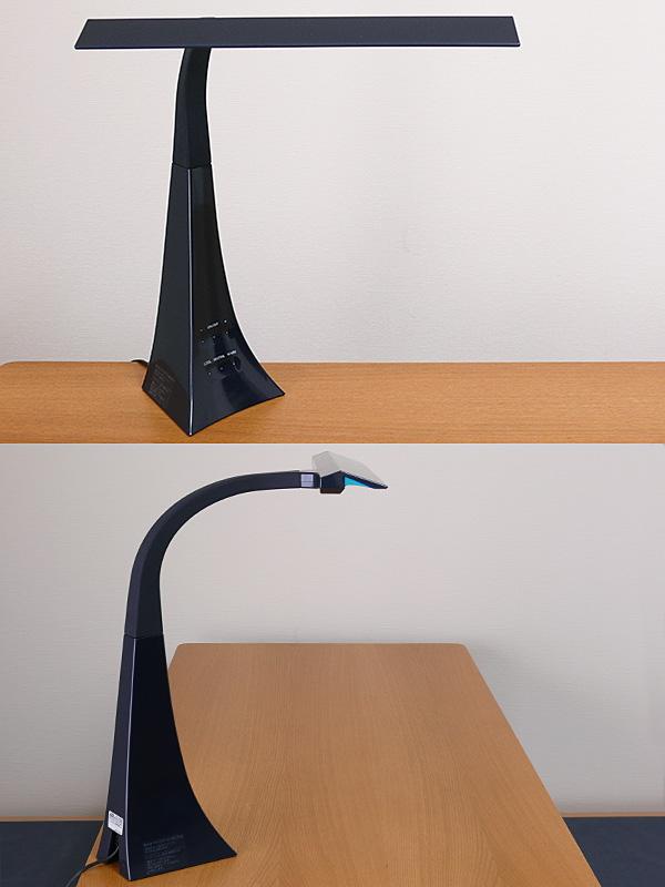 アーム内部にフレキシブルパイプを採用しているので、ひねりも加えられる。ベースは斜めに設置しながら、セードをデスクと平行にできる