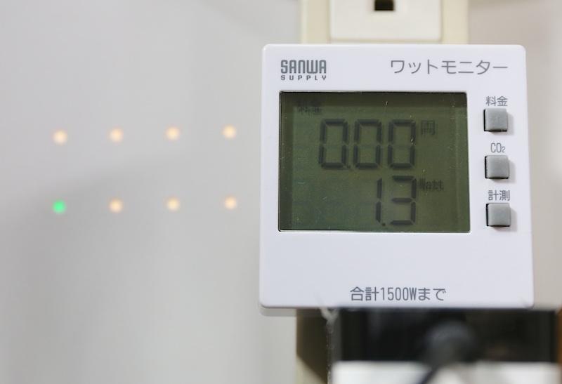 計測に使用したのは、おなじみサンワサプライの『ワットモニター』。風量を選択し、安定してきたところの数値を記録した