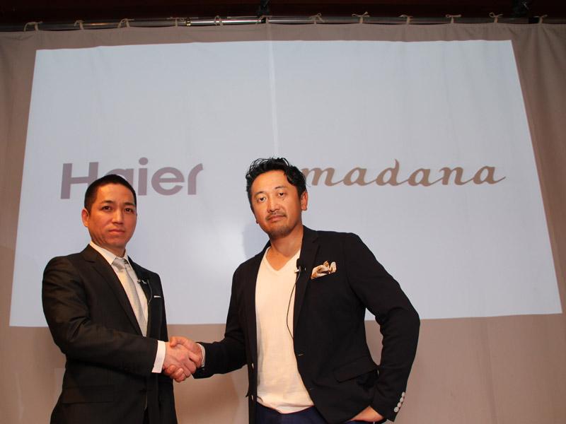 左からハイアールアジアインターナショナル 代表取締役 伊藤嘉明氏、amadana代表取締役社長の熊本浩志氏