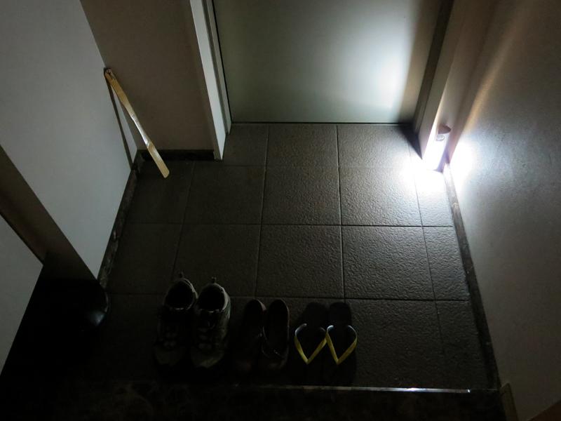玄関においた状態。足元は十分に明るい