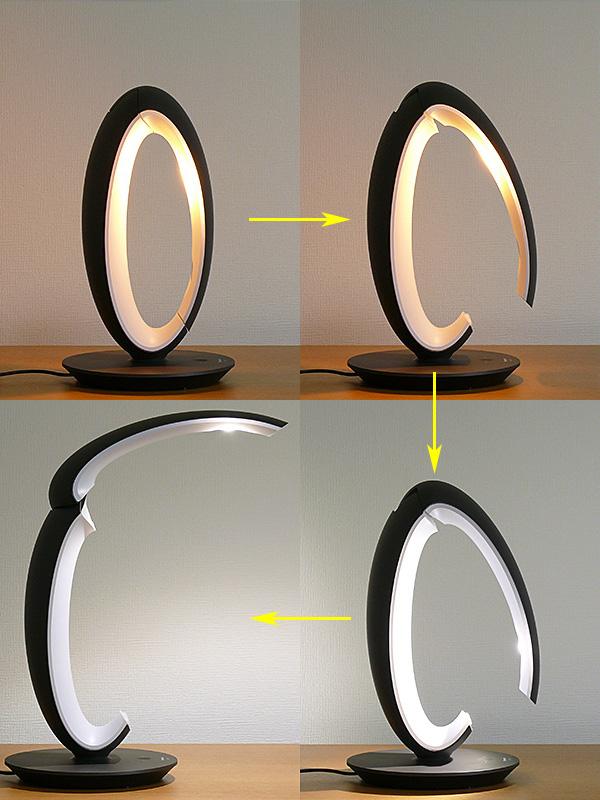 光色は、セードを30度開いたあたりで電球色から昼白色に自動で切り替わる