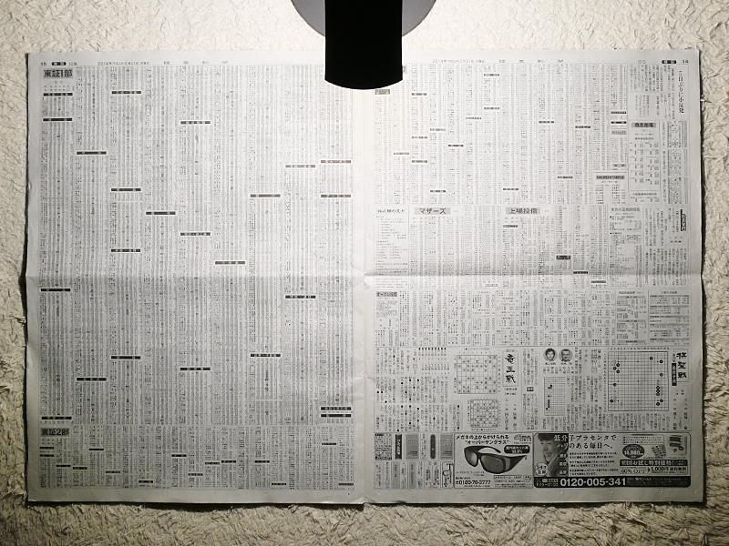 セードを最大に開くと高さは約380mmだが、見開きの新聞の手前まで光が届く。十分な拡散性がある