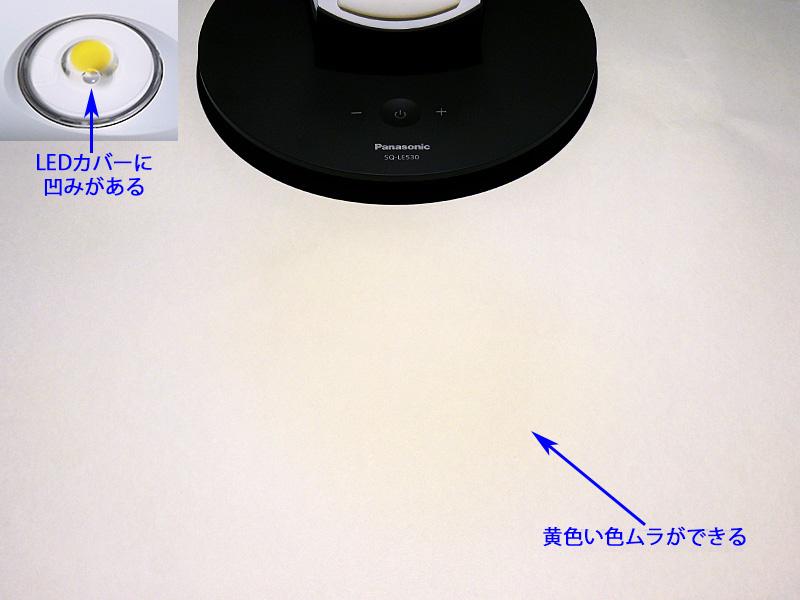 白い物を照らした際、器具の真下に直径15cmのぼんやりとした黄色い色ムラが浮かぶ。気になるかもしれない