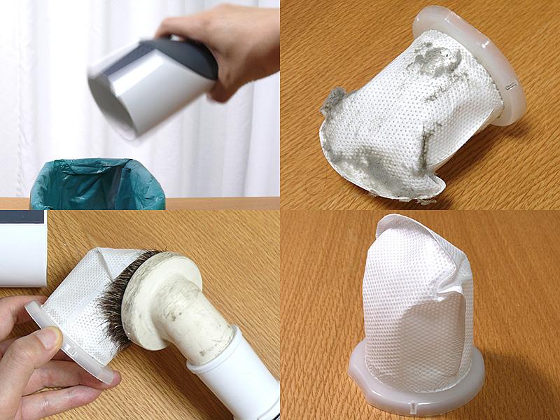 ダストボックスのゴミはポイっとゴミ箱へ。フィルターに付着した埃は一般的な掃除機で吸い取ると、手軽なだけでなく目詰りも防げる