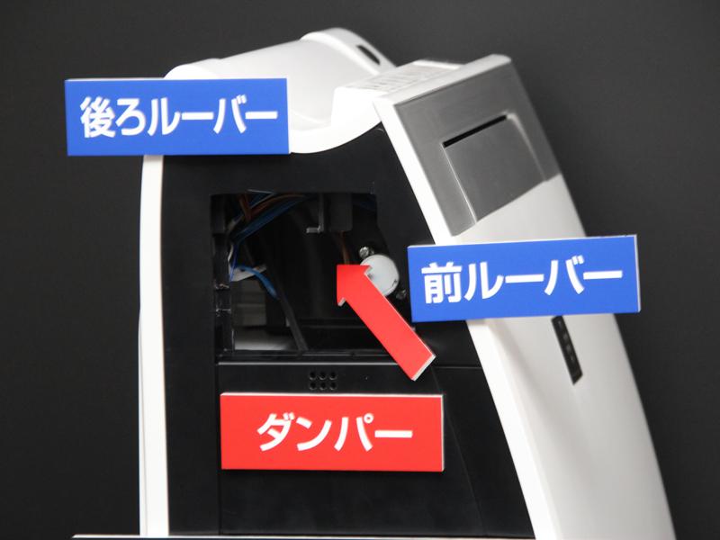 カットモデル。内部のダンパーで風向きと風量を調節する