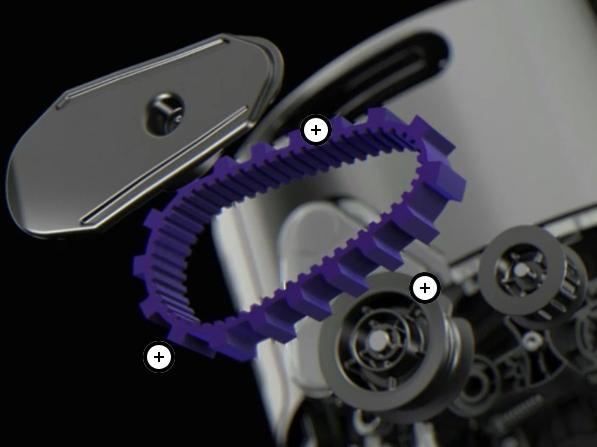 ベルト駆動式転輪により、様々な床面を直進できるという