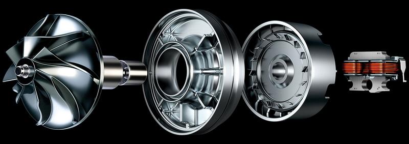 ダイソン デジタルモーター V2。小型で軽量ながら、毎分最大78,000回転するモーターで吸引力を持続する