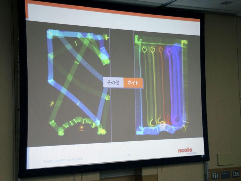 ルンバなどのようにランダムな動き(左)ではなく、直線的で効率の良い動きをする