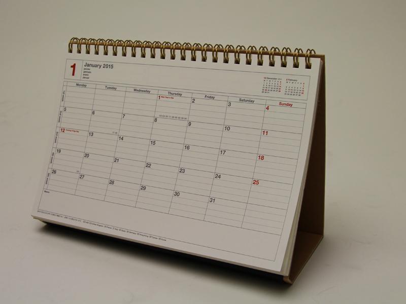 マークスのノートブックカレンダー。デスクトップカレンダーとして使える点が特徴