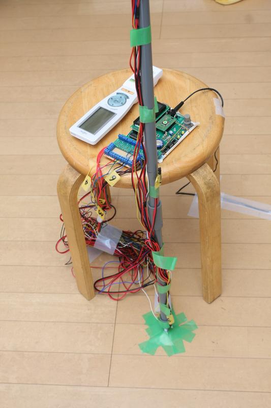 棒の場所には、コタツと同じ高さにリモコンを設置。これでリモコンを置いた場所の気温は本体に無線電波で送られるので、その周囲が快適になるように運転する