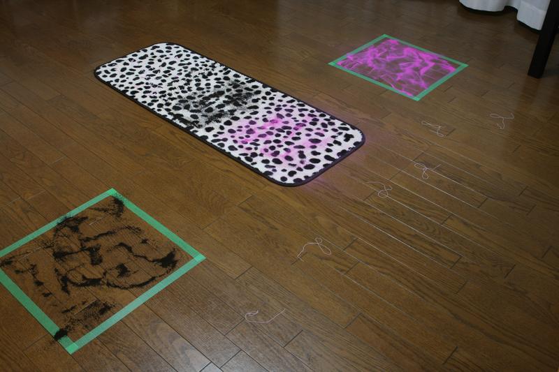 擬似ゴミはコーヒーのかすと、人工授粉用のパウダー。キッチンマットを絨毯に見立てて、フローリング以外でもキレイにできるかを確かめている。なお、マットは軽くめくれるため、テープで床に固定している