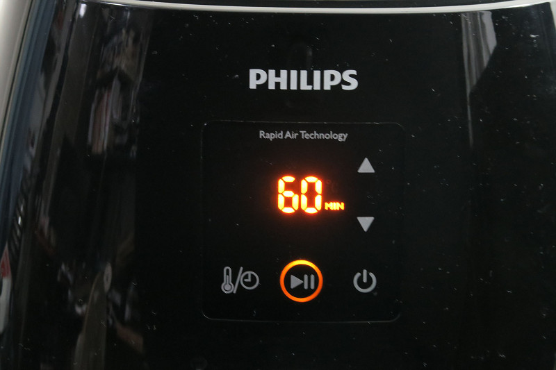 左下のボタンをタッチすることで温度設定とタイマーが切り替え可能。最長60分まで設定できる