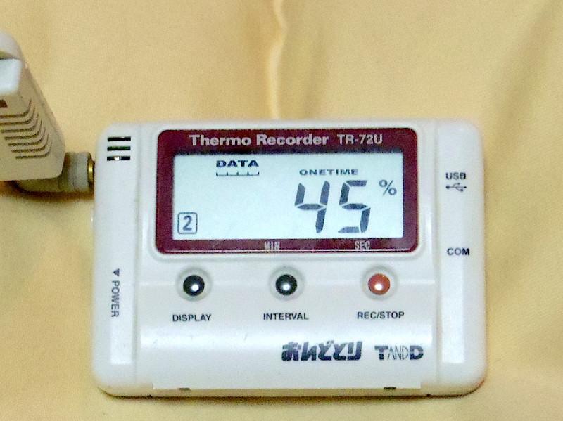 枕の中心の湿度、45%