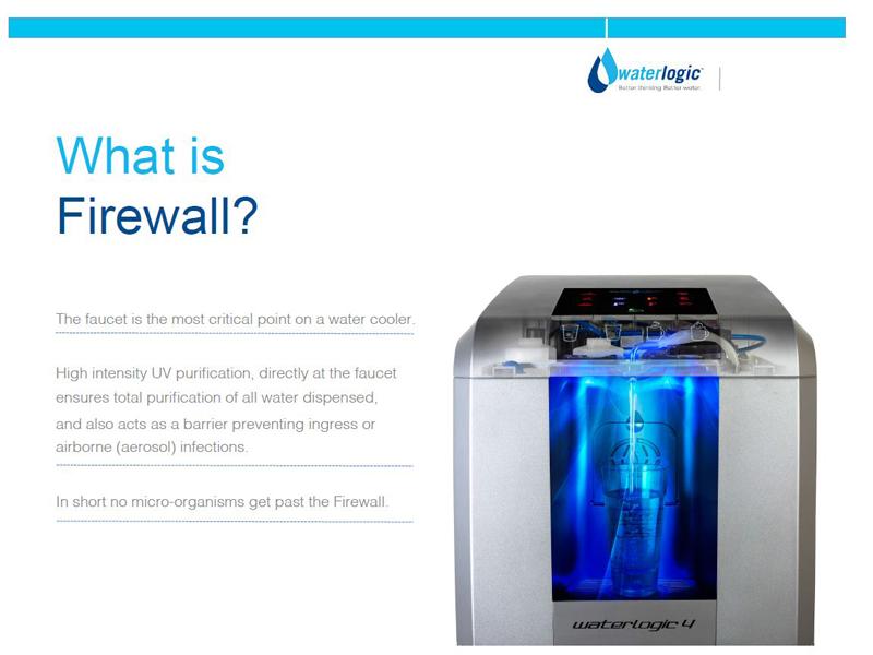 UVライトを水に照射してバクテリアを除去する「Firewall」機構を搭載