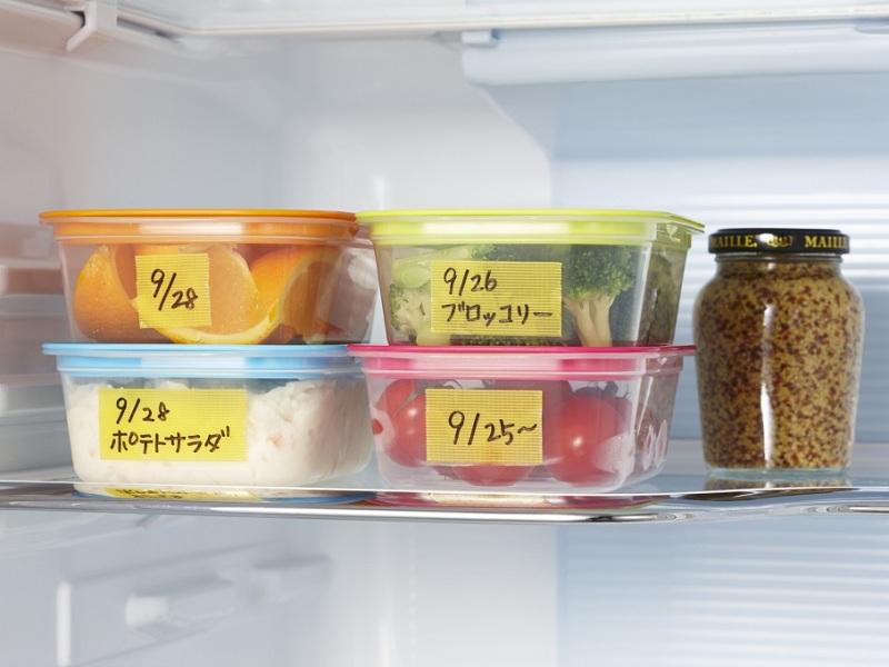 保存容器にラベルとして貼って冷蔵庫や冷凍庫に入れられる