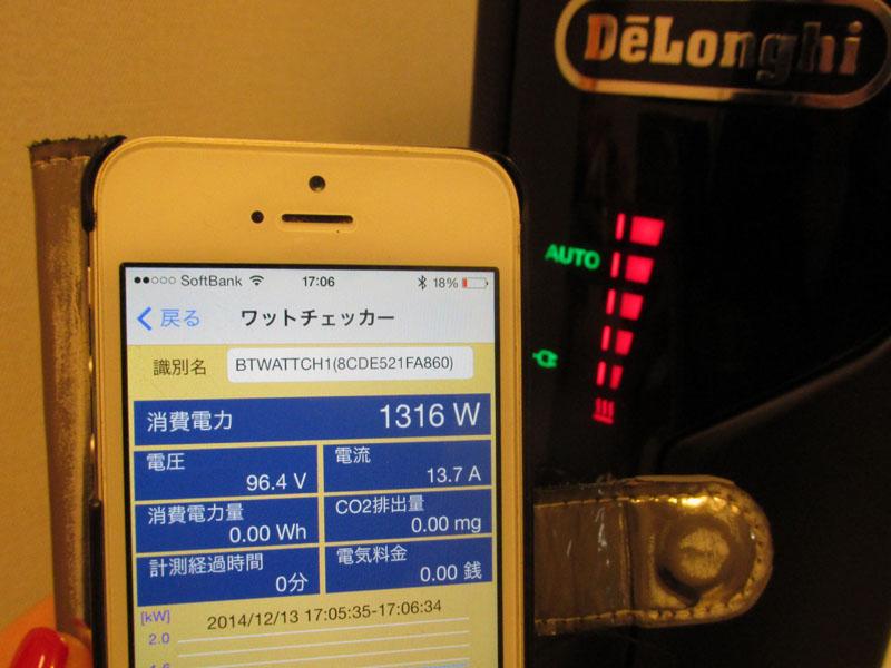 運転スタート直後の消費電力は1,325Wだった