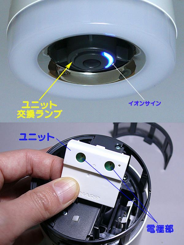 イオンサインの反対側には「ユニット交換ランプ」がある。ユニットの総運転時間が17,500時間を経過すると赤く点滅し、交換を知らせてくれるという(上)。プラズマクラスターのユニットは手で簡単に外せる。半年に一度、電極部を掃除する