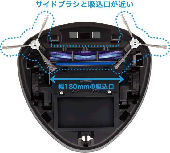本体前面に幅180mmのワイドな吸込口を配置。ゴミをしっかり吸い取る