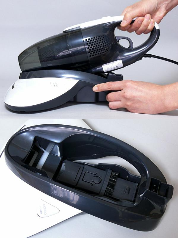 取り付けは、ヘッドの先端に本体のノズルを差し込み、本体を下ろす。「カチッ」と音がすれば装着完了。付属の隙間ノズルはヘッド内部に収納しまったままでOK