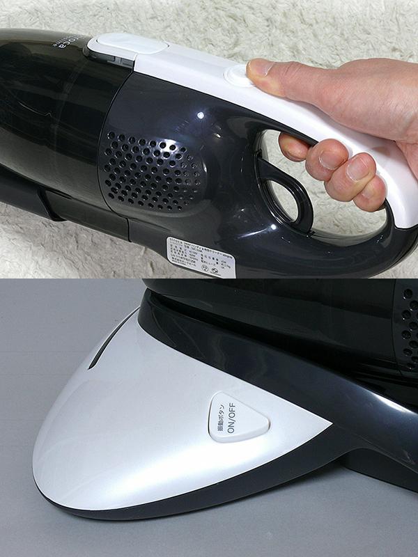 本体上の電源ボタンを押せばON/OFFができる(上)。専用の振動ボタンを押せば、独立して振動板のON/OFFができる