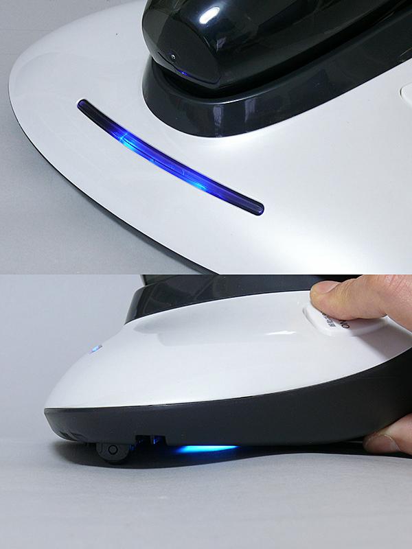 振動板とUVランプは、ベース底にある3つの安全センサーが押されていないと機能しない。UVランプ作動中は、ヘッド上のブルーのインジケーターが点灯する