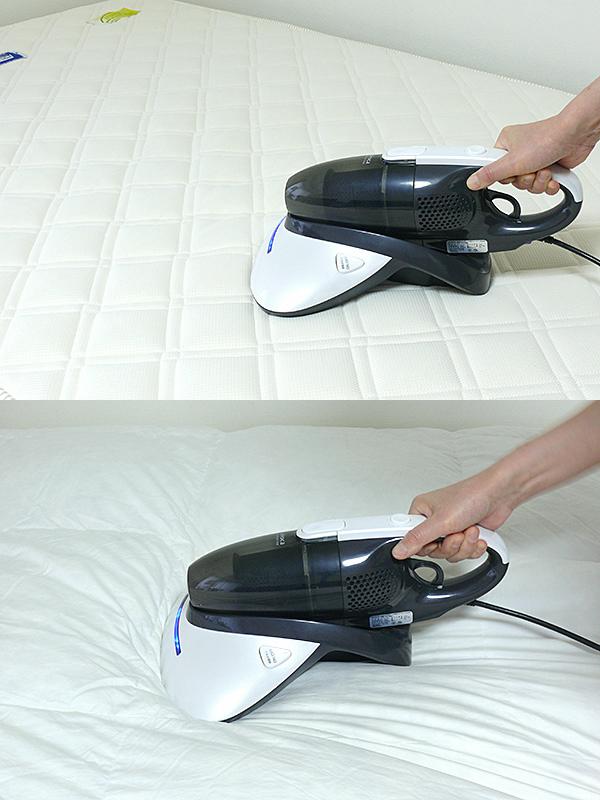 ベッドマットも単独で吸い取った(上)。柔らかく厚みのある羽毛掛け布団も問題なく掃除機がかけられる