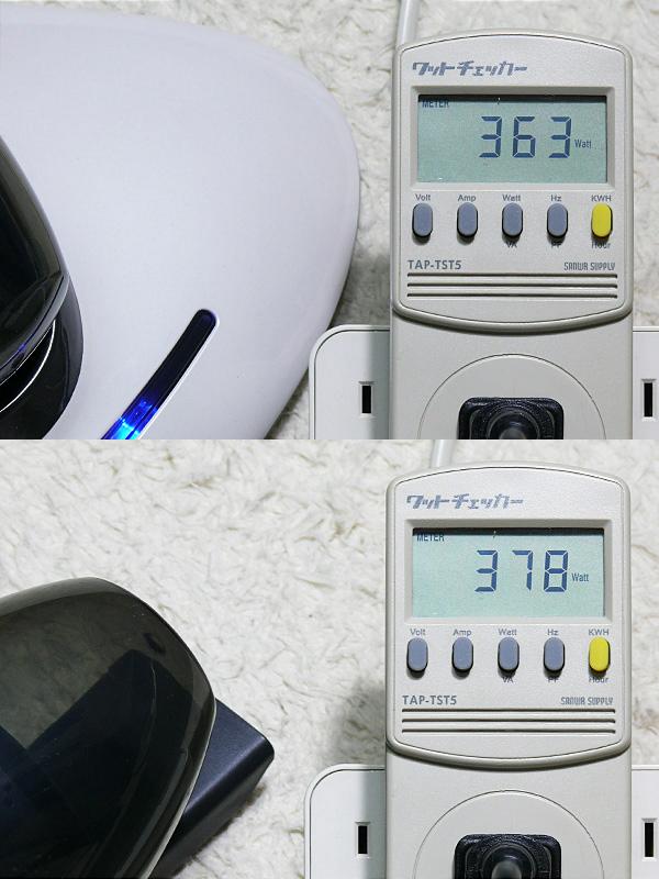 消費電力は、布団クリーナー時は360W前後。ハンディクリーナー時は380W前後だった