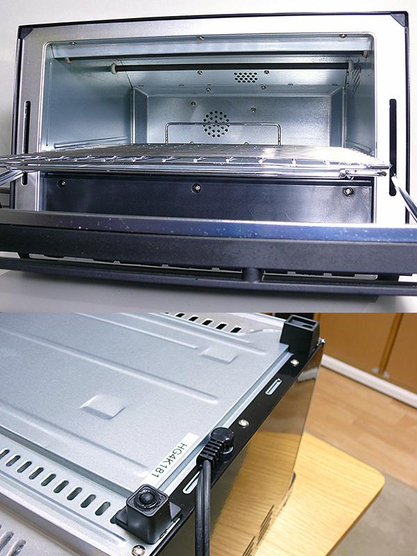 庫内の広さは、280×270×90mm(同)。オーブンとしてはかなり狭い(上)。脚裏に滑り止めがあるので安定して置ける