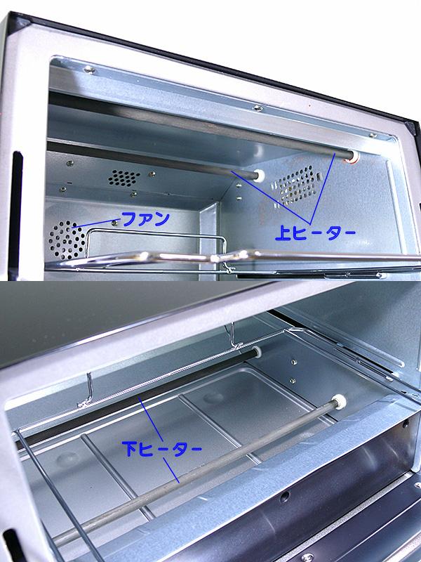 ヒーターは上下に2本ずつある。庫内の最後部にヒーターの熱を強制的に循環させるファンがある