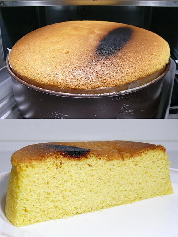 庫内奥、上ヒーターの真下は焦げ付いてしまった(上)。完全に冷ましたスポンジケーキは中央が少しくぼんだ。デコレーションケーキに使うなら、膨らみは切り落とすので、焼きムラは問題なかった