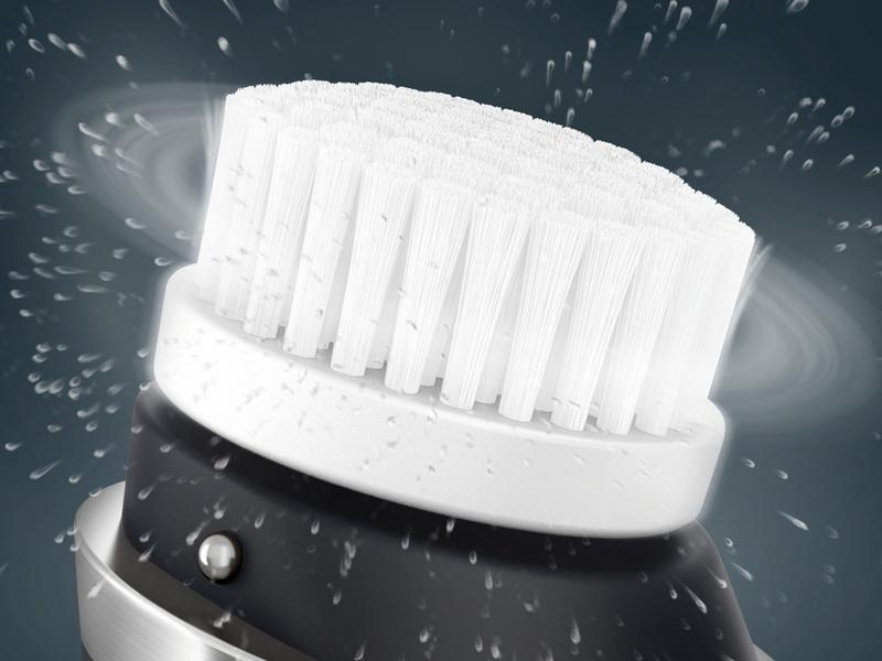 音波振動と回転運動により、手洗顔の10倍の洗浄効果を実現
