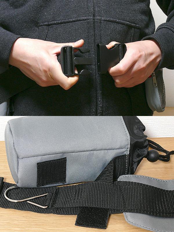 5cmのベルトに、扱いやすいバックルがついている(上)。ポーチとボトルケースはマジックテープで取り外せる