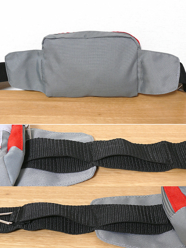 本体裏側には補助布があるので、きっちり締め付けても圧迫感が少ない(上)。ポーチ類を差し込むベルトは85mm間隔で仕切られており、ポーチ同士がかさならない