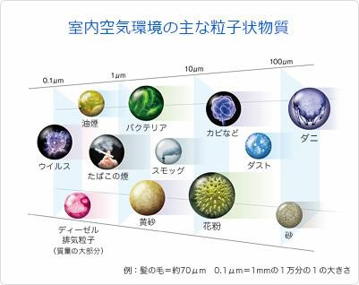 空気中を漂う粒子には、1mmの1/10にあたる100μm程度のダニから、髪の毛の太さより少し小さな花粉、1mmの1/1万のウィルスまでさまざま