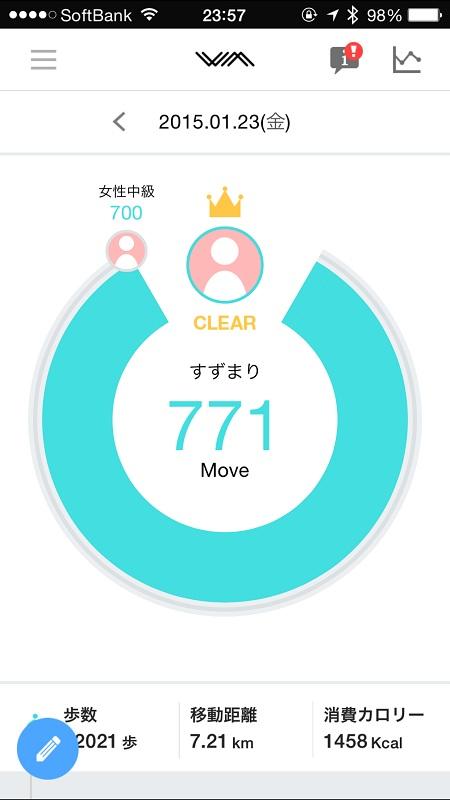 無料アプリ「わたしムーヴ」。タイムラインになっており、画面をスクロールすると睡眠のグラフなどが見られる