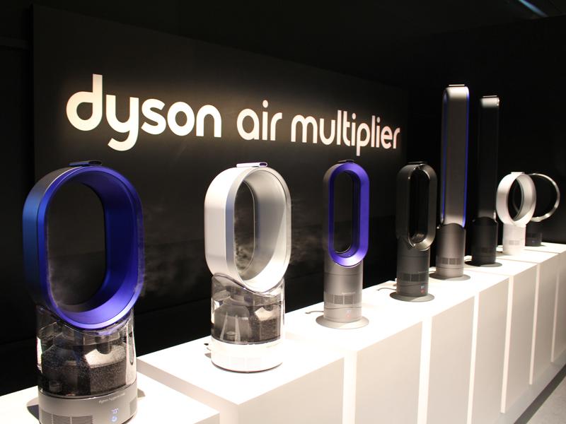 エアーマルチプライアー技術を搭載した製品群。加湿器(手前)、扇風機(奥)に続き、3製品目となる