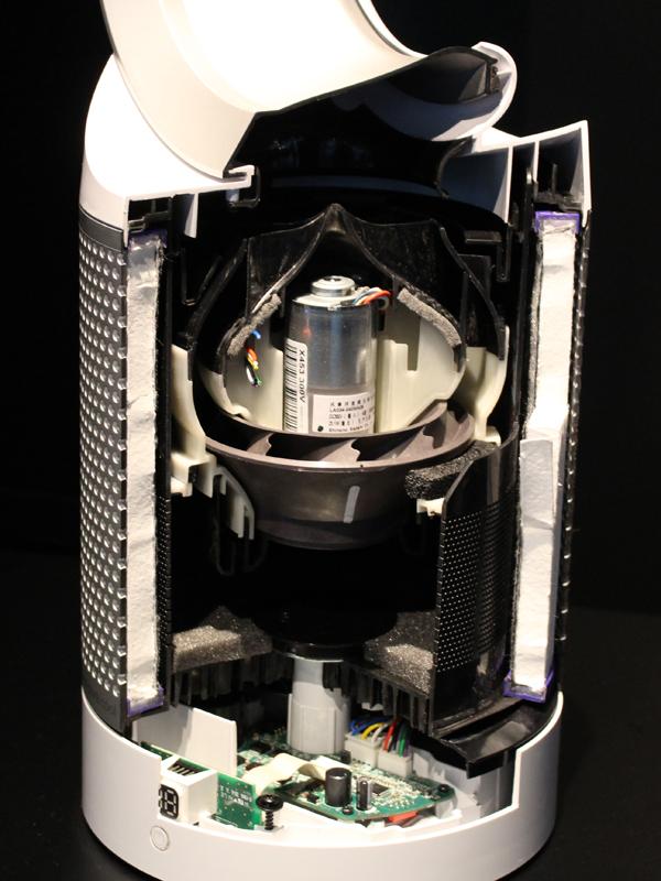 本体カットモデルフィルター内部にモーターが配置されている